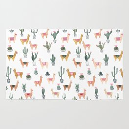 llamas and plants Rug