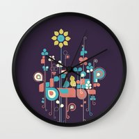 sunflower Wall Clocks featuring Sunflower by Jay Fleck