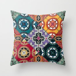 DESEO BOLD spanish tiles Throw Pillow