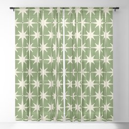 Atomic Age Starbursts - Midcentury Modern Pattern in Cream and Retro Green Sheer Curtain