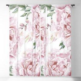 Girly Pastel Pink Roses Garden Blackout Curtain