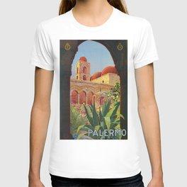 vintage 1920s Palermo Sicily Italian travel ad T-shirt