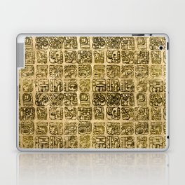 Mayan and aztec glyphs gold on vintage texture Laptop & iPad Skin