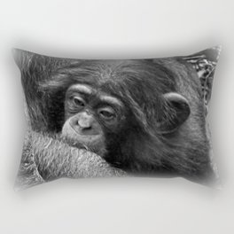 Baby Chimpanzee Cuddling Close to Mom Black and White Rectangular Pillow