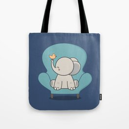 Kawaii Cute Elephant On A Couch Tote Bag