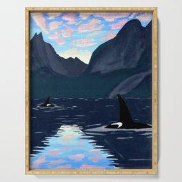 killer whales, lofoten islands Serving Tray