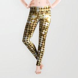 Golden Metallic Glitter Sequins Leggings
