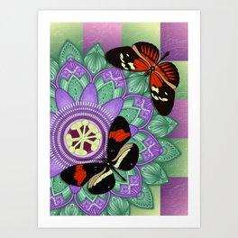 Passion Flower Mandala with Butterflies Art Print