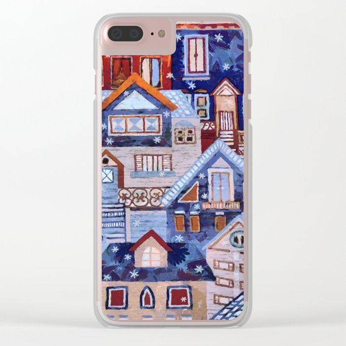 Winter town Clear iPhone Case