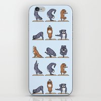 bull terrier iPhone & iPod Skins featuring Bull Terrier Yoga by Huebucket