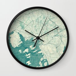Oslo Map Blue Vintage Wall Clock
