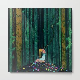 In the Midst of the Gloom of the Enchanted Woods by Kay Nielsen Metal Print