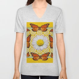 Shasta Daisy Monarch Butterflies Yellow Pattern Art Unisex V-Neck