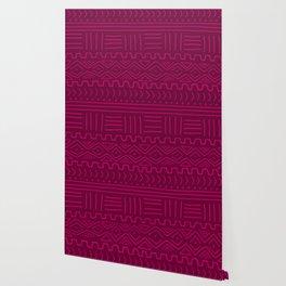 Mud Cloth in Raspberry Wallpaper