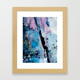 Breathe [3]: colorful abstract in black, blue, purple, gold and white Framed Art Print