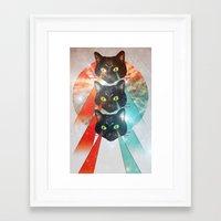 hippy Framed Art Prints featuring Hippy Cats by Lauren Miller