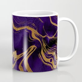 Dark Night Purple And Gold Marbled Texture Coffee Mug