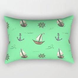 Happy Sailing Pattern with green background Rectangular Pillow