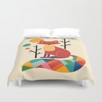 grey Duvet Covers featuring Rainbow Fox by Andy Westface