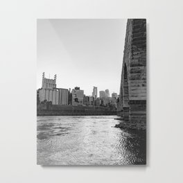 Minneapolis Skyline Black and White at the River Metal Print