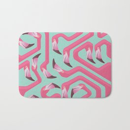 Flamingo Maze on beach glass background. Bath Mat