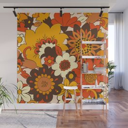 Retro 70s Flower Power, Floral, Orange Brown Yellow Psychedelic Pattern Wall Mural