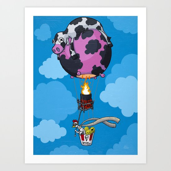 The Daring Escape of Baron Von Chicken Art Print