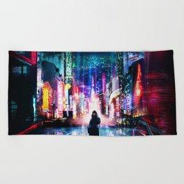 Tokyo Cyberpunk Japan Beach Towel
