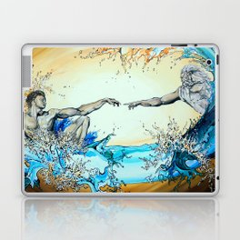 Adam Reaching Out To God In Water Laptop & iPad Skin
