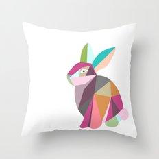 RABBIT ORIGAMI Throw Pillow