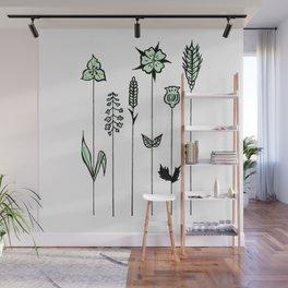 Wildflower Stems Design — Green Wildflowers Illustration Wall Mural