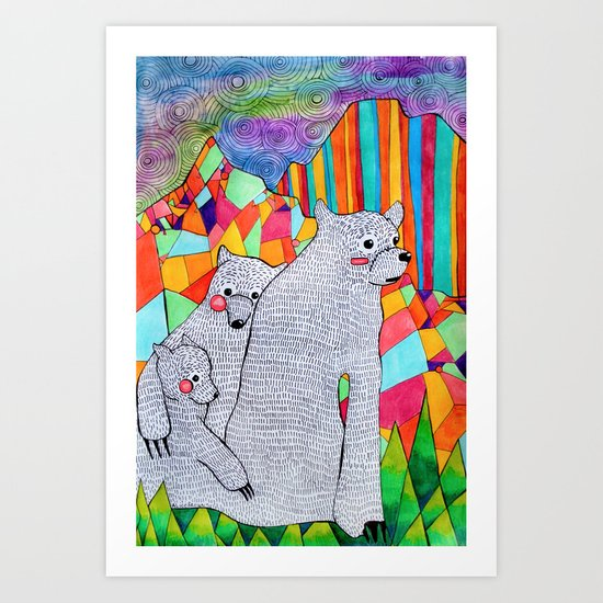 Three Bears Art Print