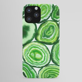 Green agate pattern watercolor iPhone Case