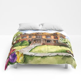Victorian Mansion in the Spring Comforters