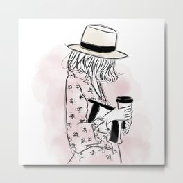 Casual young girl wearing hat and floral dress, clutch bag and a cup of coffee ready to hustle Metal Print