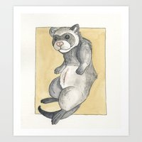 ferret Art Prints featuring Ferret by Osceola Pope
