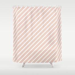 Millennial Pink Tight Stripes Shower Curtain