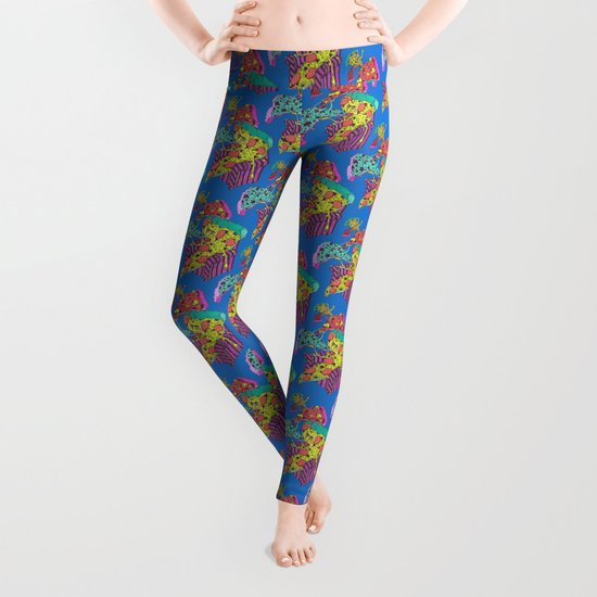 Pizza Eating Pizza - Blue Edition Leggings