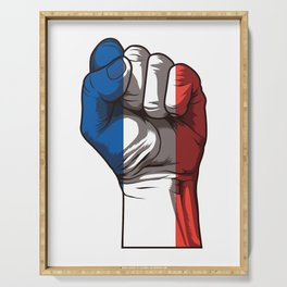 Raised Fist for France   French Flag Serving Tray