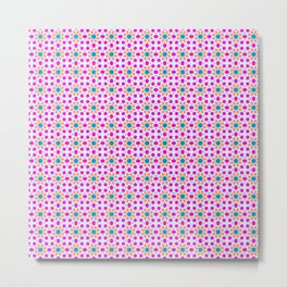 Yellow Flowers with Pink Dots Pattern Metal Print