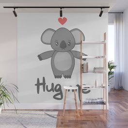 cute hand drawn lettering hug me with cartoon lovely koala bear Wall Mural