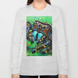 Psychedelic Jumping Spider by Robert Phelps Long Sleeve T-shirt