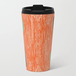 green mushroom with colorful stem floating in orange colored drawing by cecilia lee Travel Mug