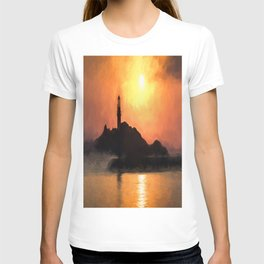 Lighthouse Sunset Impressionism T-shirt