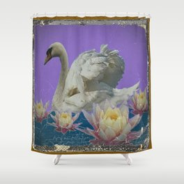 Grungy White Swan & Water Lilies Lilac Art Patterns Shower Curtain