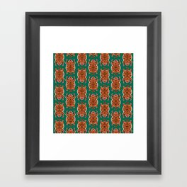 TIBETAN TIGER - ALL OVER (green) Framed Art Print