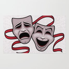 Comedy And Tragedy Theater Masks Rug
