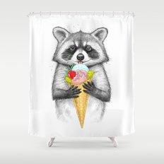 raccoon with ice cream Shower Curtain