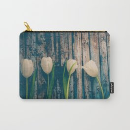 White Easter Tulip Flowers on Wooden Blue Old Planks Carry-All Pouch