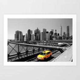 Yellow cab on Brooklyn Bridge, Manhattan, New York, USA. Art Print